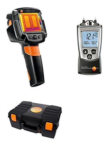 Testo 0560 8709 Wärmebildkamera Bauhandwerk mit integrierter Digitalkamera/Upgrade SuperResolution/Transportkoffer/Messgerät für Holz/Material Feuchte schwarz