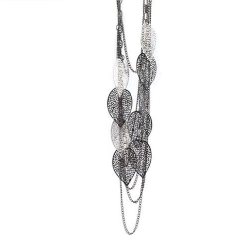 SODIAL (R) Collana lunga a forma fogli a piu' strati per Ragazza bello fascino di moda di stile della Boemia