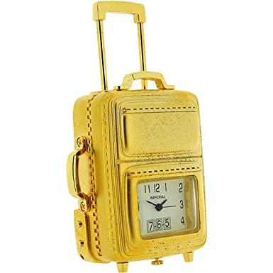 Miniature Gold Cabin Suitcase Novelty Collectors Clock
