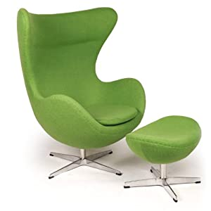 Kardiel Egg Chair Ottoman Apple Green Cashmere Wool Arm