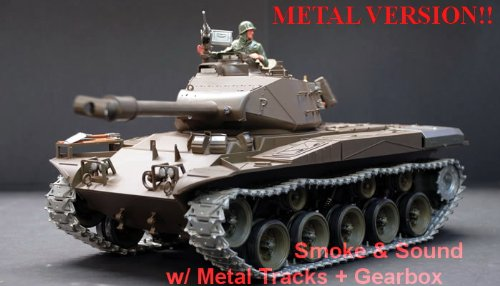 US M41A3 Bulldog Radio Controlled 1/16th Scale Airsoft R/C Battle Tank Upgraded Metal Version Featuring Smokes, Sound, Lights & Metal Tracks