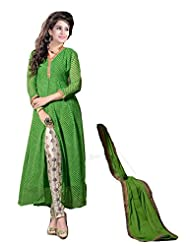 Clickedia Women's And Girls Beautiful Green Center Cut Churidaar Salwaar Suit With Embroidery Work On Churidaar...