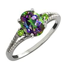 buy 2.36 Ct 9X7Mm Oval Green Mystic Topaz And Green Peridot Sterling Silver Ring