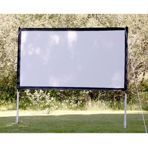 ProjectoScreen113 Portable Outdoor Movie Theater Projection Screen. Setup your backyard movie theater in minutes! 16:9 120-inch diagonal with black borders