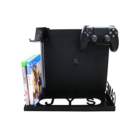 iBetter montaggio a parete Mensola PS4 / PS4 Pro bagagli stand Xboxones, ospite di storage, gestire, disco del gioco.