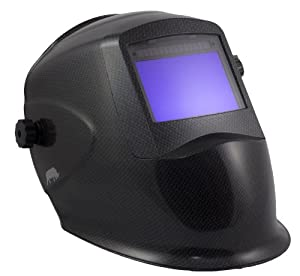 Rhino LARGE VIEW Auto Darkening Welding Helmet Hood Mask - Battery and Solar Combo - Carbon Fiber RH01 from Rhino Welding Helmets