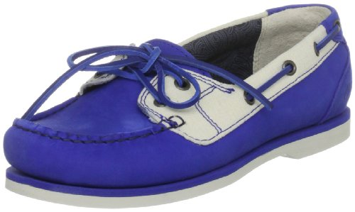 Timberland Women's 2 Eye Leather and Fabric Dazzling Blue Boat Shoes 27617 5 UK