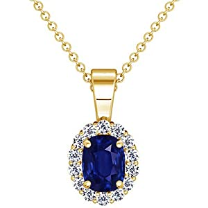 14K Yellow Gold Cushion Cut Blue Sapphire And Round Diamond Pendant