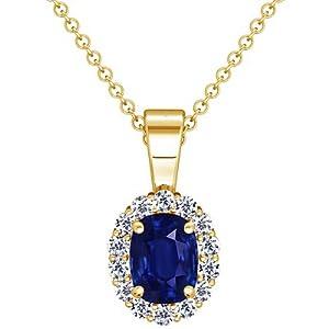 18K Yellow Gold Cushion Cut Blue Sapphire And Round Diamond Pendant