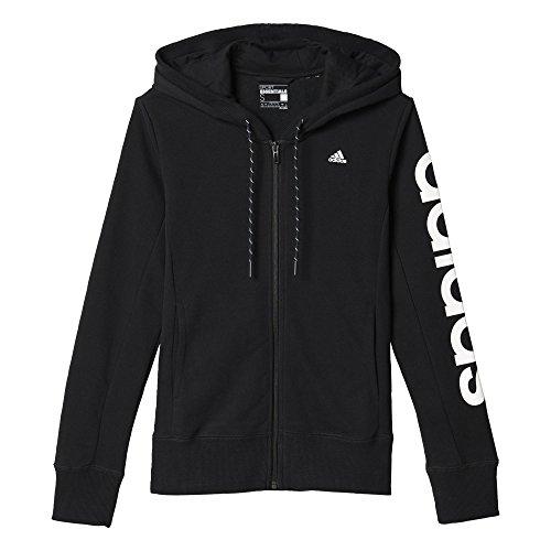Adidas Ess Linear Hd Felpa per Donna, Nero/Bianco (Nero/Bianco), S