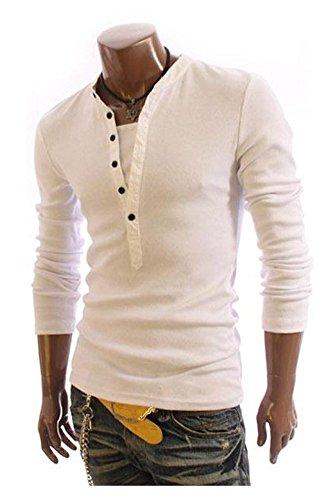 Minetom Uomini T-Shirt 2 in 1 con scollo a V Maglietta Slim Fit Manica Lunga ( Bianco IT 40 )
