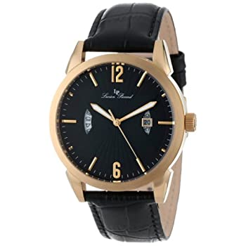 Gold tone ion plated stainless steel case with a black genuine leather with alligator pattern strap. Fixed bezel. Black textured dial with gold-tone hands and Arabic and index hour markers. Minute markers around the outer rim. Dial Type: Analog. Lumi...