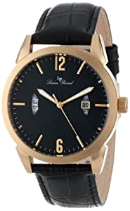 """Lucien Piccard Men's 11561-YG-01 """"Watzmann"""" Gold Ion-Plated Watch with Black Leather Strap"""