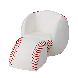 6740 Child's Upholstered Baseball Sports Chair and Ottoman with Wooden Base Construction  and