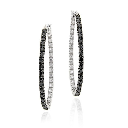 Sterling Silver Black Diamond Accent 33mm Oval Hoop Earrings