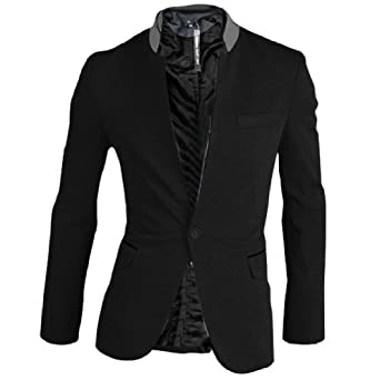 Men Stand Collar Long Sleeve Single Button Closure Pockets Blazer