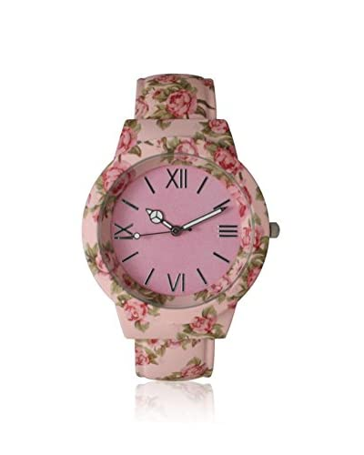 Olivia Pratt Women's 26418 Light Pink Flowers and Peace Cuff Alloy Watch