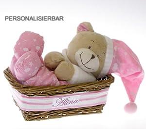 spieluhr b r im geschenkkorb mit namen personalisiert. Black Bedroom Furniture Sets. Home Design Ideas