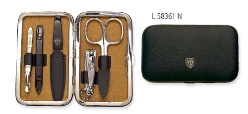 3 Swords - 5 Piece Manicure & Pedicure Case, made of authentic Leather, Grade: Made in Solingen
