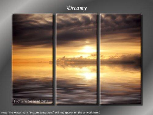 Framed Huge 3 Panel Modern Art Ocean Sunrise Dreamy Giclee Canvas Print