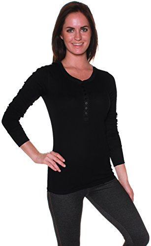 Absolute Clothing Women'S Thermal Button Round Neck Long Sleeve Top Black Large