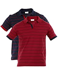 Duke Stardust Fabian Slim Fit Polo Collar Half Sleeves Striped Cotton Blend Mens T-shirt –Pack Of 2