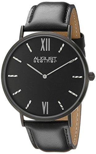 August Steiner Men's Round Black Dial Two-Hand Quartz Black Watch