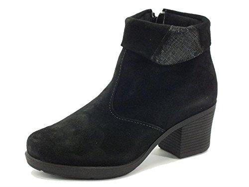 Tronchetti Cinzia Soft per donna in camoscio nero con risvolto saffiano (Taglia 40)