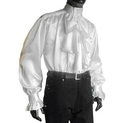 Medieval Gothic Satin Jabot Shirt, White - M