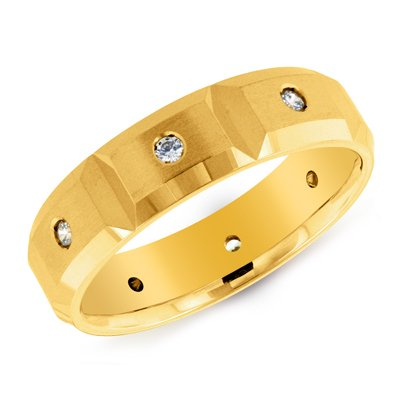 14K Yellow Gold Square Shape Diamond Accented Ring Size 10