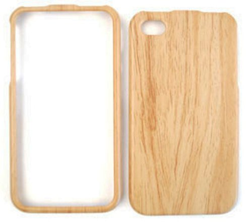 Wood Wooden Bamboo Fitted Plastic Snap-On HARD Faceplate Protector Case Cover (LIGHT WOOD GRAIN) for Apple iPhone 4S / 4G / 4 (Fits any carrier AT&T, VERIZON AND SPRINT) + Free WirelessGeeks247 Detachable Neck Strap / Lanyard