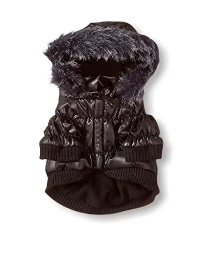 Pet Life Metallic Ski Parka Dog Coat, Metallic Black, X-Small
