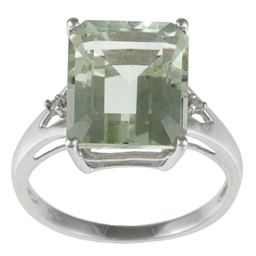 Emerald Cut Green Amethyst and Diamond Ring