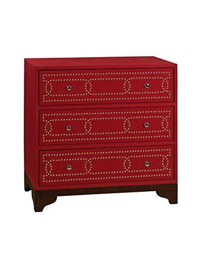 Coast to Coast Nailhead Trim 3-Drawer Chest, Red