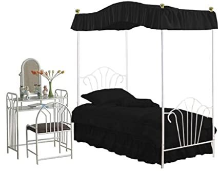 New Twin White Metal Canopy Bed Set with Black Canopy Fabric Drape and White Make Up Vanity with Bench!