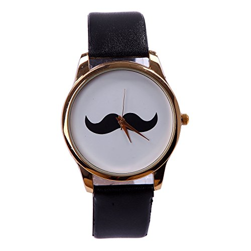 """Hde Analog """"I Mustache You The Time"""" Wrist Watch With Black Shiny Wet Look Wrist Band"""