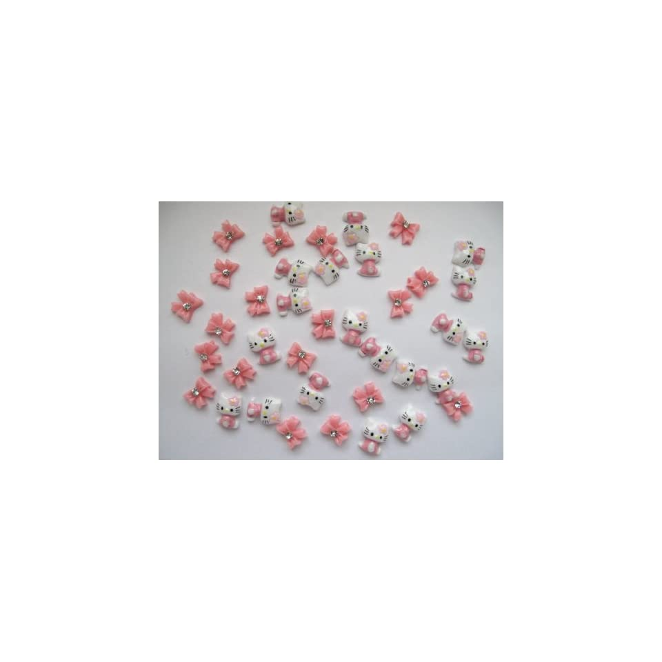 Nail Art 3d 40 Pieces Mix Pink Hello Kitty/Bow for Nails, Cellphones 1