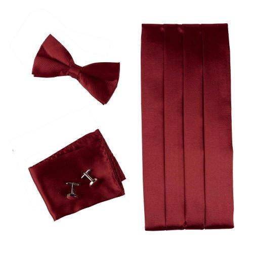 Burgundy Formal Pre-Tied Bow Tie Hanky Cufflinks And Cummerbund Set With Gift Box Cm1014  Red