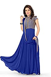 BanoRani Faux Georgette Blue Color Semi Stitched Full Length Anarkali Gown Style Salwar Suit