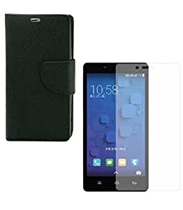 Mobimax Diary Wallet Case Cover For One Plus X -Black With Tempered Glass