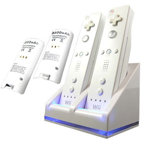 Dual Charging Station w/ 2 Rechargeable Battery & LED light for Wii Remote Control, White