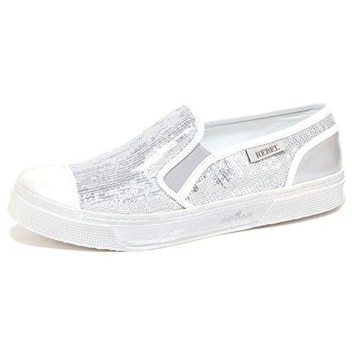 6516P sneaker donna HOGAN REBEL SLIP ON argento/bianco shoe woman [39]