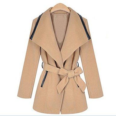 FF&CAI q&manica lunga sottile risvolto cappotti di tweed y collo delle donne , almond , xl