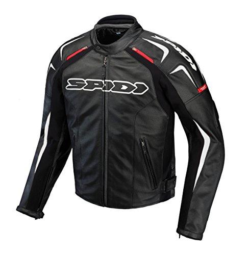 Spidi - Giacca da Moto in Pelle Track, Nero/Bianco, 54