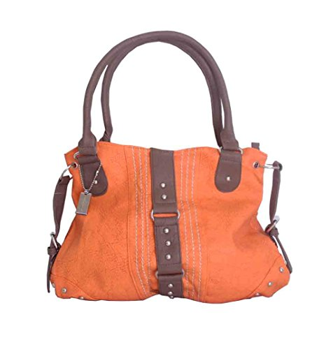 Trezo Pumpkin Handbag with Side Straps & Dark Brown Trim