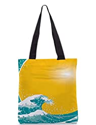 Snoogg The Great Wave Vector Background Designer Poly Canvas Tote Bag