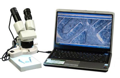 Omax 10X-20X-30X-60X Digital Binocular Stereo Microscope With 8W Fluorescent Ring Light And Usb Digital Camera