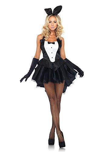 Leg Avenue Women's 3 Piece Tux And Tails Bunny Tuxedo Costume, Black/White, Medium/Large