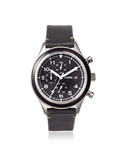 Fossil Men's JR1440 Compass Black Leather Watch
