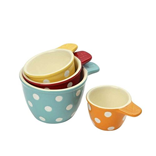Dexam Set Of 4 Ceramic Polka Dot Measuring Cups - 1/4 1/3 1/2 And 1 Cup (Polka Dot Cookware compare prices)